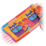 "Laurel Burch Silk Scarf   ""Feline Family""  with Fringe - LBS151"