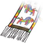 "Laurel Burch Silk Scarf   ""Rainbow Horses""  White with Fringe - LBS154A"