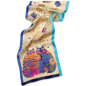 "Laurel Burch Silk Scarf ""Feline Whimsy"" with Sequins - LBS157"