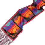 "Laurel Burch Silk Scarf ""Rainbow Cats"" with Fringe - LBS167"