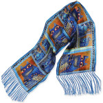 "Laurel Burch Silk Scarf ""Indigo Cats Portraits"" with Fringe - LBS170"