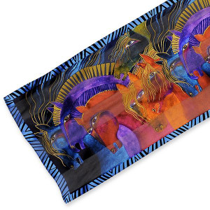 "Laurel Burch Silk Scarf ""Wild Horses of Fire"" - LBS177"