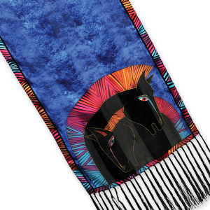 """Laurel Burch Silk Scarf   """"Embracing Horses"""" with Fringe - LBS179"""