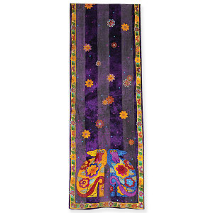 "Laurel Burch Silk Scarf ""Flowering Canines"" - LBS186"