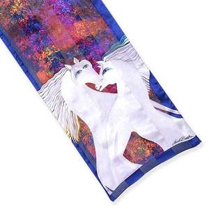 Laurel Burch Classic Silk Fabric Scarf Dancing Lusitanos LBS187