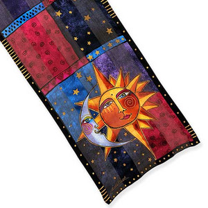 Laurel Burch Classic Silk Fabric Scarf Sun & Moon LBS189