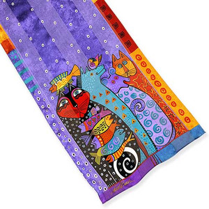 Laurel Burch Classic Silk Fabric Scarf Dream Believers LBS194