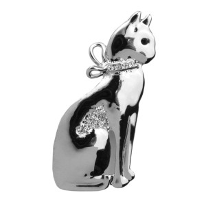 "Cat Pin with Rhinestones Silvertone ""Sitting Kitty"" - P4892S"