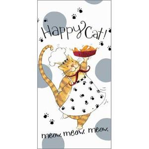 Happy Cat Flour Sack Cotton Towel R2633