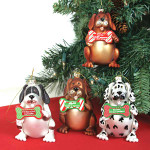 Glass Dog Christmas Ornaments 81526