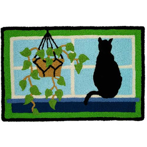 Cat Watching from the Window - Floor Rug - JB-CC001