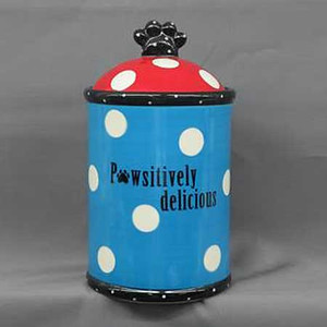 "Ceramic Treat Jar ""Pawsitively Delicious"" 22131"