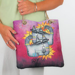 """Feline Sunshine"" Cat Lovers Crossbody Shoulder Bag 13x12x4 Tote - SS248C"