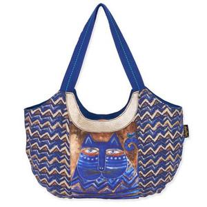 Laurel Burch Large Blue Azul ZigZag Scoop Tote Bag