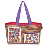 Laurel Burch Karly's Colorful Cats Fun Casual Shoulder Tote Bag