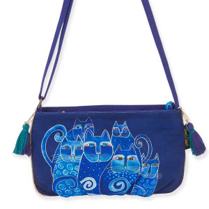Laurel Burch Feline Crossbody Bag Blue
