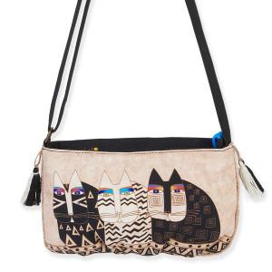 Laurel Burch Feline Crossbody Bag Ivory Creme