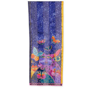 Laurel Burch Cats with Butterflies Silk Scarf
