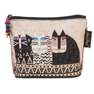 Laurel Burch Feline Minis Cosmetic Clutch Pouch Cat Faces