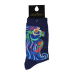Laurel Burch Dancing Mermaids Crew Socks Navy