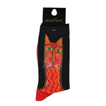 Laurel Burch Tribal Zig Zag Cat Crew Socks Red