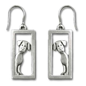 Dog Peeking In Frame Pewter Fishhook Earrings