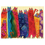 Laurel Burch Canvas Santa Fe Felines Cats 12x16 Wall Art LB26002