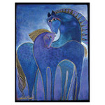 Laurel Burch Canvas Indigo Mares Horses 12x16 Wall Art LB26010