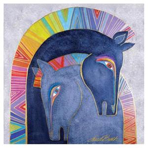 Laurel Burch Canvas Embracing Horses 15x15 Wall Art LB26011