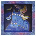 Laurel Burch 3-D Indigo Cats 8x8 Wall Art LB26013
