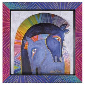Laurel Burch 3-D Mares Embracing Horses 8x8 Wall Art LB26016