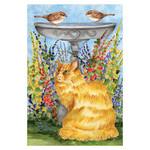 Birdbath Cat Garden Flag - 119846