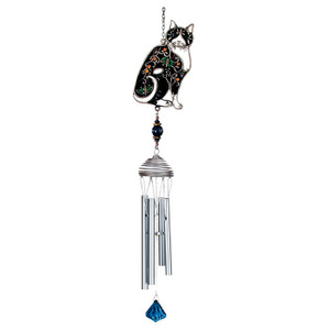 Colorful Black Cat Art Windchimes - 15526BK