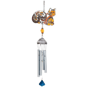 Colorful Orange Cat Art Windchimes - 15526OR