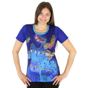 Laurel Burch Tee Shirt Indigo Cats LBT034