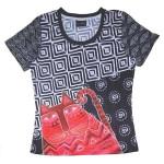 Laurel Burch Tee Shirt Red Feline LBT030