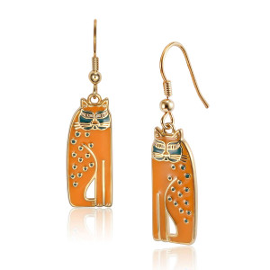 Siamese Cats Laurel Burch Earrings Mustard 5019