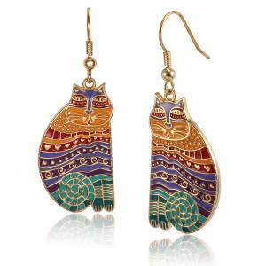 Rainbow Cats Laurel Burch Earrings Bright Multi 5026