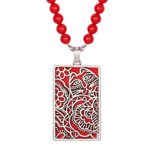 Carlotta's Garden Cat Laurel Burch Necklace Red 5051