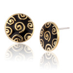 Jubilee Stud Laurel Burch Earrings Black-Gold 6016