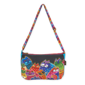 Laurel Burch Whiskered Family Medium Crossbody Tote LB5602