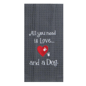 Love Dog Embroidered Waffle Cotton Towel - F0779