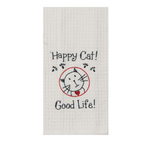 Happy Cat Embroidered Waffle Cotton Towel - F0784