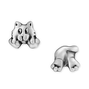 Cat Face Bottom Pewter Stud Earrings 3653EP