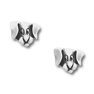 Dog Face Pewter Stud Earrings 2581EP