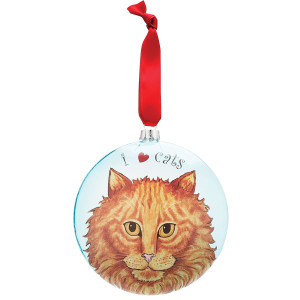 "Julius Orangy Tabby 5"" Glass Cat Christmas Ornament 45409"
