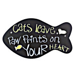 "Large Wooden ""Cats Leave Paw Prints on Your Heart"" Wall Sign - 13639"
