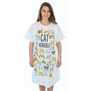 "Cat Theme Sleep Shirt Pajamas ""Cat Hoarder"" 00436ot"