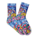 Laurel Burch Cat with Flowers Purple Crew Socks LBWS16H050-01