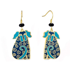 Dog Tails Laurel Burch Earrings Blue - Silver 5071